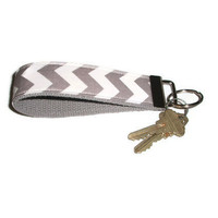 Gray Chevron Wristlet Keychain