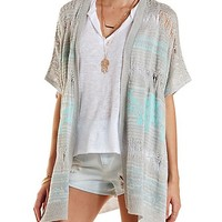 Pointelle Poncho Cardigan Sweater by Charlotte Russe - Gray Combo