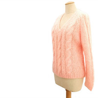 Vintage 1960s Sweater Wool Mohair Pullover Cable Knit Peach Large