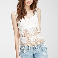 Fringed Floral Crochet Tank