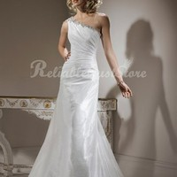 Simple A-line One Shoulder Floor Length Satin Beach Wedding Dress-$328.99-ReliableTrustStore.com