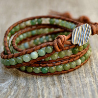 Bohemian beaded triple wrap leather bracelet. Green bead bracelet.