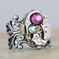 Mothers Ring Steampunk Ring Custom Birthstone Ring Watch Ring Personalized Grandmothers Ring Inspired by Elizabeth