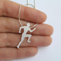 Runner Necklace Pendant - Silver Running Man Silhouette Pendant -Hand Cut