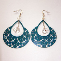 Turquoise and Crystal Dangle Earrings