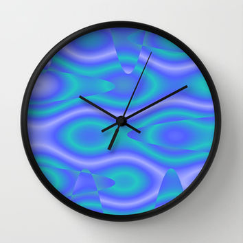 Purple And Cyan Abstract Print Wall Clock by KCavender Designs