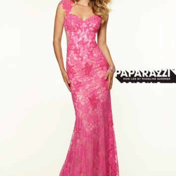 Beautiful fitted lace gown with cap sleeves and an open back. Available in Hot Pink and Royal. #girligirlboutique #girligirl #prom2015 #lace