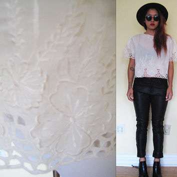 Vintage 50's boxy lace eyelet embroidered sheer puff sleeves hippie boho bohemian white