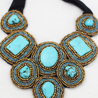 Turquoise Beaded Bib Statement Necklace 