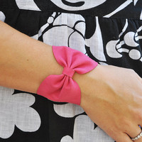 Pink Faux Leather Bow Bracelet