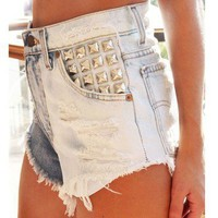 """TWO FACED"" RAD FESTIVAL VINTAGE INSPIRED DENIM HIGH WAISTED SHORTS WITH STUDS"