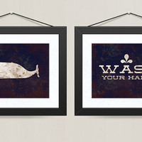 Humpback Whale and Wash Your Hands Set  - Vintage Distressed Print - Children Bathroom - 8 x 10