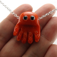 Orange Octopus Lampworked Glass Bead Necklace by MercuryGlass
