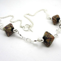 Raku Crystals Lampworked Glass Bead Necklace by MercuryGlass