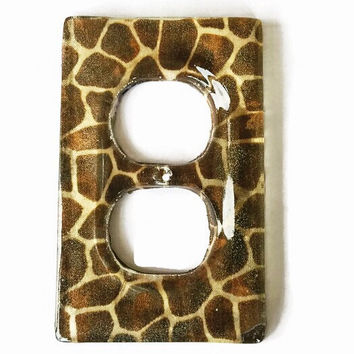 Giraffe Print Resin Double Outlet Cover / Plate