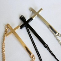 Gold/Silver/Black Cross Bracelet from Paris Heroin Stars&#x27; Boutique