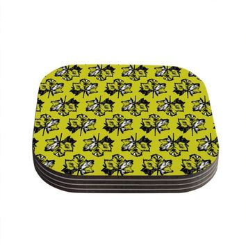 "Kess InHouse Julia Grifol ""Green Tree Leaves"" Yellow Coaster, 4 by 4-Inch, Yellow, Set of 4"
