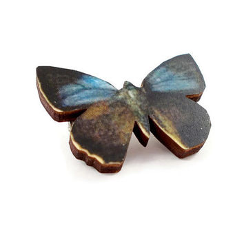 Blue butterfly brooch, wood brooch, insect brooch, insect jewellery, butterfly jewellery, small brooch, UK seller, LisasPieces