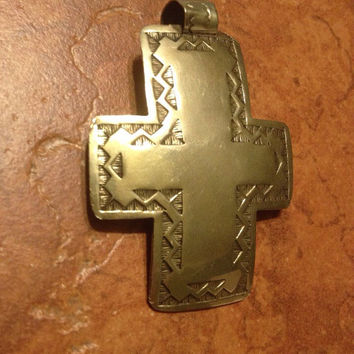 Vintage Mexican Silver Tone Cross Pendant Mexico Jewelry