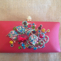 Faux Snake Clutch with Abstract Embellishment