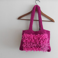 Knitting bags,Fuchsia Bags,Women Handbags,Accessories Bags,Handmade Handbags Style,Summer Bags,Girl Bags,Tablet Case,Hippie Bag,Fringed Bag