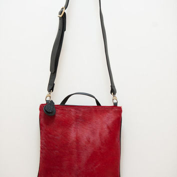 Valentine's gift - RED leather cross-body, leather clutch ,women handbag, hair on hide, women purse