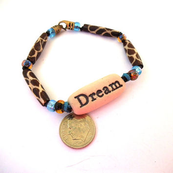 "Brown & Blue ""DREAM"" Bracelet with Animal Print Glass Beads, Porcelain Clay Beads and Seed Beads, Statement Jewelry"