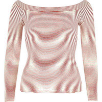 River Island Womens Red stripe fitted bardot top