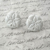 glitter sand dollar earrings // studs, post earrings, glittery sand dollars