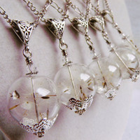 Bridesmaid Gifts, Dandelion Seed Glass Orb Necklaces