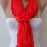 New Scarf - Red Summer Scarf - Tulle Fabric - Seamless Shawl