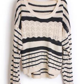 Hollow out Pretty Striped Black Sweater  S001671
