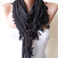 New - Black Cotton Scarf with Black Trim Edge