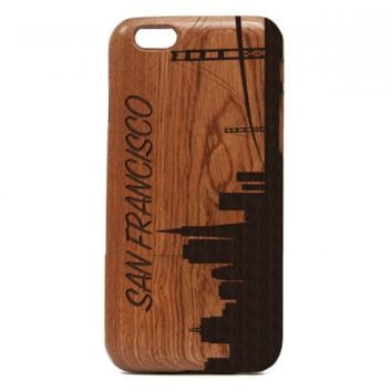 San Francisco Skyline iPhone Case - Wooden Skyline Case