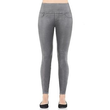 NWT SPANX Pewter Gray Wax Coated Denim Leggings Jeggings Pants-Size M(6-8)-NEW