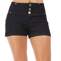 High Waist Dark Denim Shorts