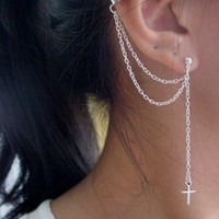 Double Chain Cross Ear Cuff