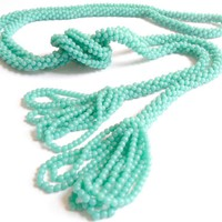 Vintage Rope Beaded Tassel Necklace.. on Luulla