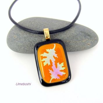 Two Oaks Handmade Dichroic Fused Glass Pendant in Pumpkin and Black