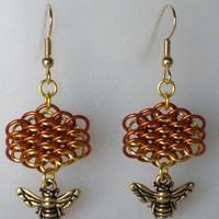 Honeycomb Chainmaille Earrings Gold.. on Luulla