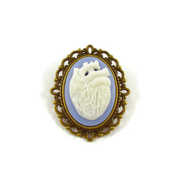 Lilac and white anatomical heart cameo brooch, white heart brooch, human heart, Gothic brooch, rockabilly brooch, anatomical jewellery
