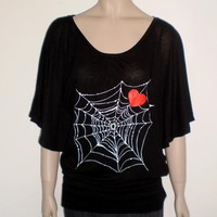 Spider Web Red Heart Maxi Black T S.. on Luulla