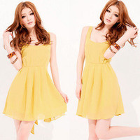 Korea Women Spaghetti Strap Empire Pleated Belt Bowknot Mini Dresses Casual 4496