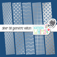 Silver Foil Geometric Vellum Digital Paper Pack –elegant papers for wedding and shower invitations & scrapbooking – instant download – CU OK