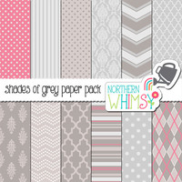 Pink and Grey Digital Paper Pack – scrapbook papers in chevron, damask, polka dot, quatrefoil & argyle patterns – instant download – CU OK