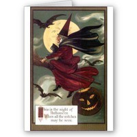 Flying Witch Greeting Cards from Zazzle.com