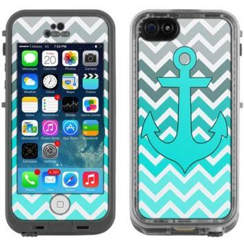 Skin Decal for LifeProof Apple iPhone 5C Case - Anchor Chevron Grey Green Turquoise Case