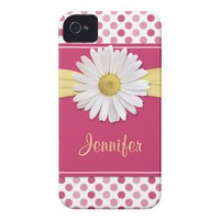 Shasta Daisy Pink Polka Dot iPhone 4 Case from Zazzle.com