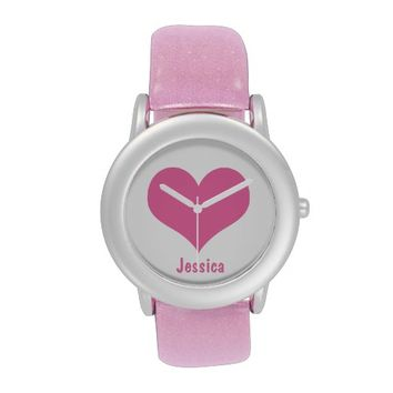 Pink Heart - Personalized Name Kid`s Glitter Watch