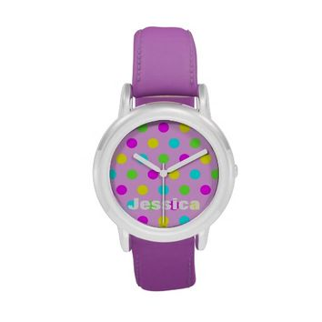 Colorful Polka Dots - Personalized Kids Name Watch
